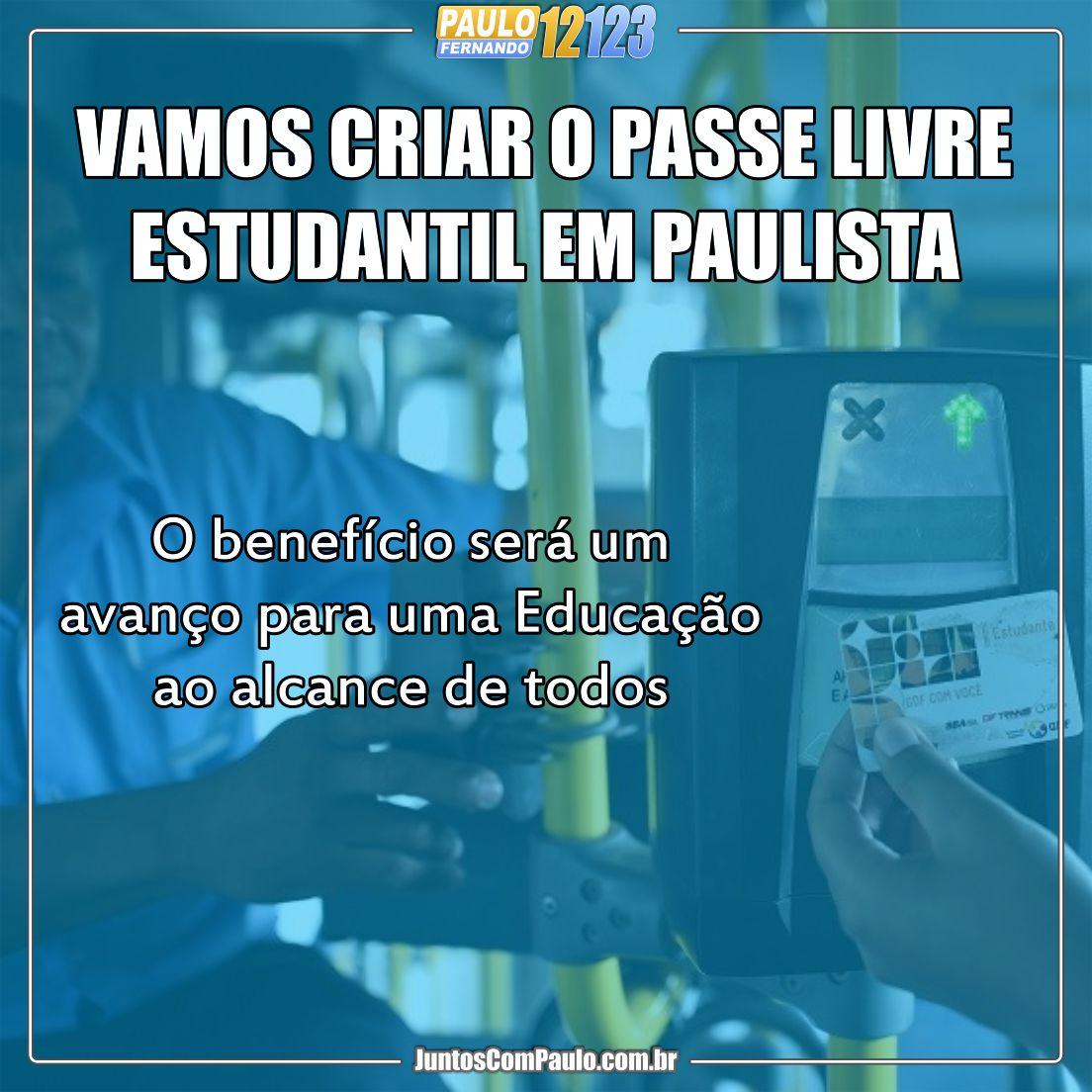 Passe livre para estudantes da rede municipal de educação do Paulista