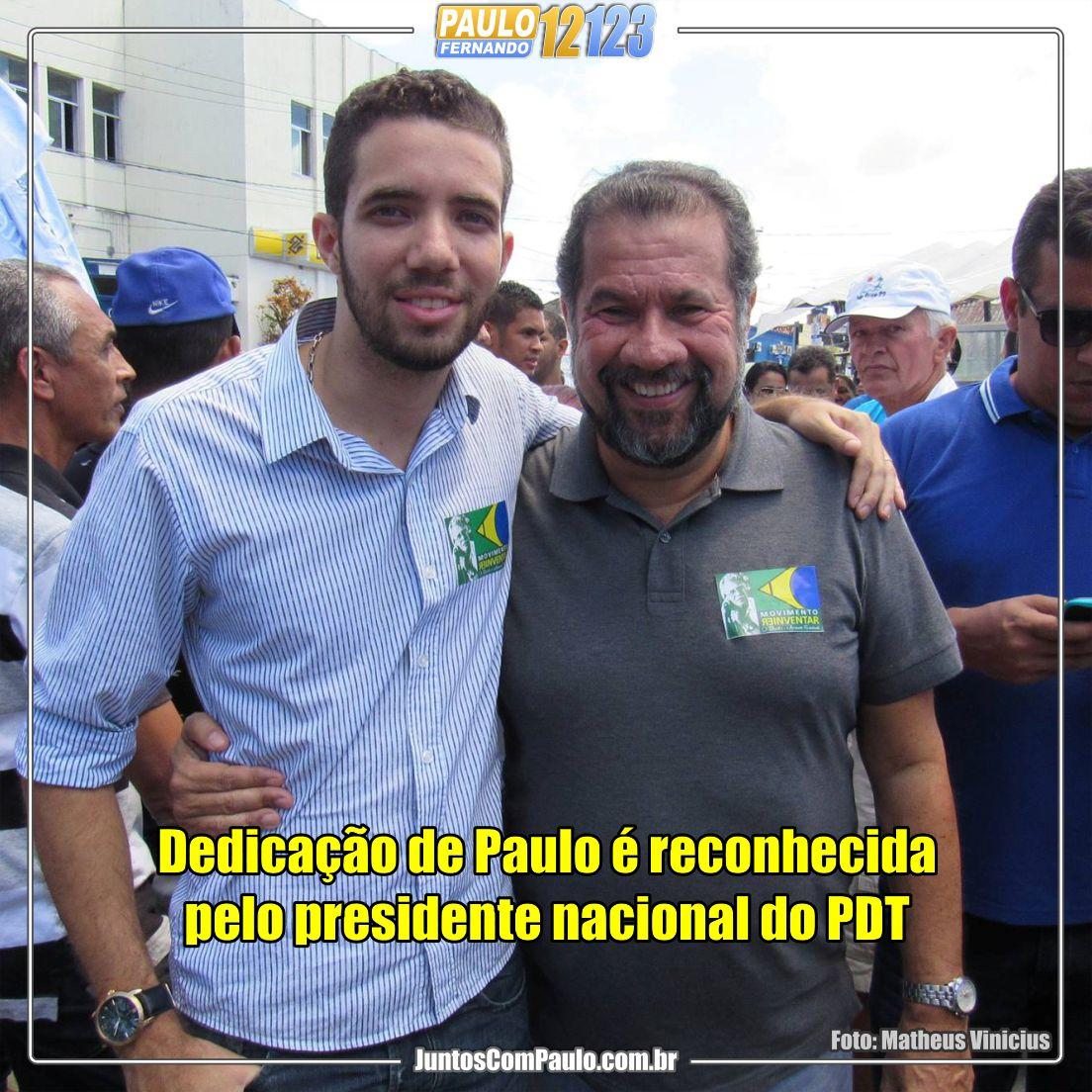 Carlos Lupi, apoia a candidatura de Paulo Fernando para o cargo de vereador do Paulista